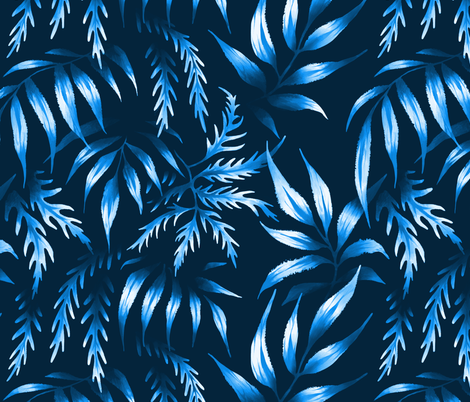 Brooklyn Forest - Blue Monochrome fabric by andreaalice on Spoonflower - custom fabric