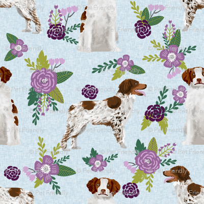 Brittany spaniel pet quilt c dog nursery coordinate floral for Floral nursery fabric