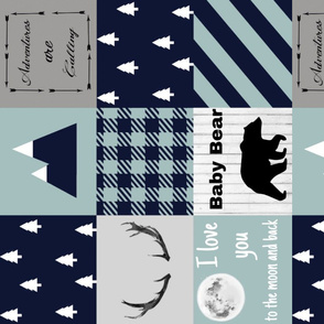 Baby bear - navy and blue mint rotated