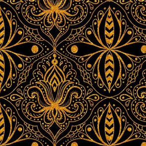 fancy black and gold ogee damask