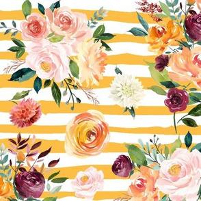 "Paprika Bouquets on Mustard Stripes 12"""
