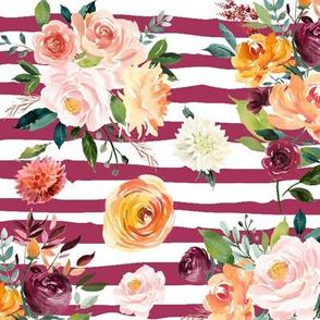 """Paprika Bouquets on Mauve Stripes 12"""""""
