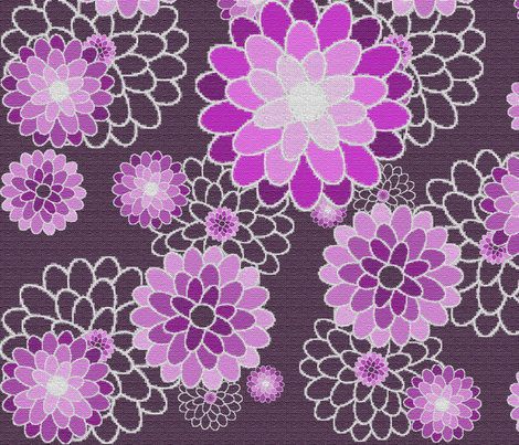 embroidered magenta fabric by tangledvinestudio on Spoonflower - custom fabric