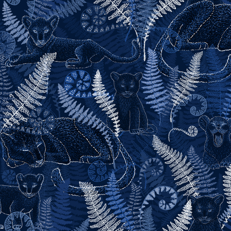 Good Night Mama Panther (navy monochrome) fabric by helenpdesigns on Spoonflower - custom fabric