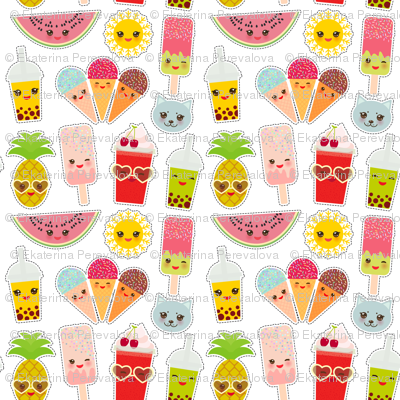 Hello Summer bright Kawaii patches