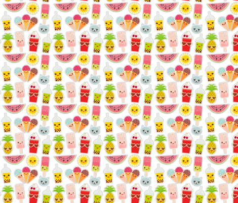 Hello Summer bright Kawaii patches  fabric by ekaterinap on Spoonflower - custom fabric