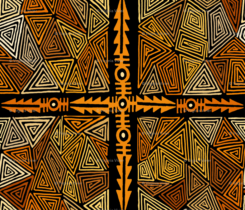 Shaman Ritual Arrows wallpaper - vagabond_folk_art - Spoonflower