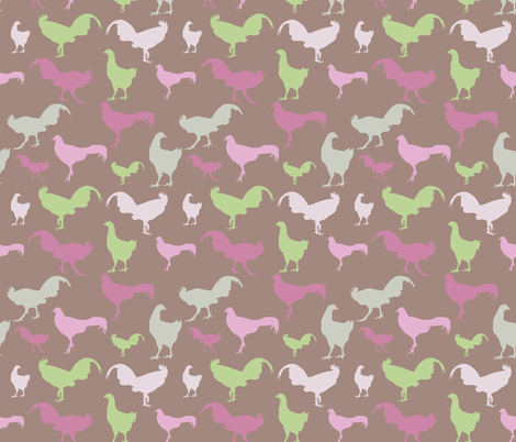 chickens and roosters fabric by ekaterinap on Spoonflower - custom fabric