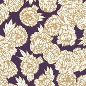 Peonies Gold and White on Purple