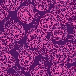 Peonies Pink on Purple