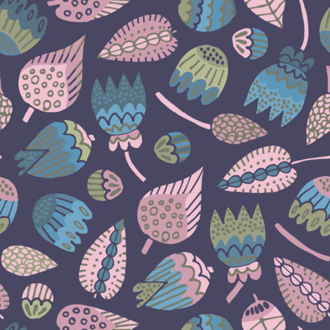 Leaves and buds on indigo fabric by samantha_w on Spoonflower - custom fabric