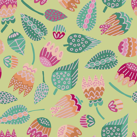 Leaves and buds on pale green fabric by samantha_w on Spoonflower - custom fabric