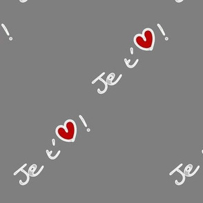 Je t'aime coeur rouge & gris - I love you heart red & grey