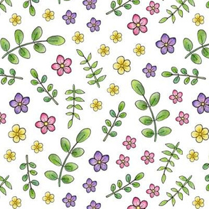 Ditsy Meadow Flowers on white