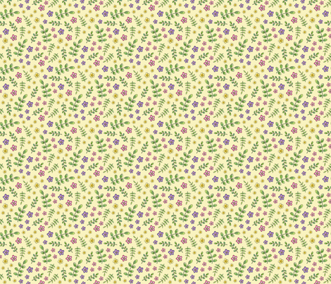 Ditsy Meadow Flowers on pale yellow fabric by hazelfishercreations on Spoonflower - custom fabric