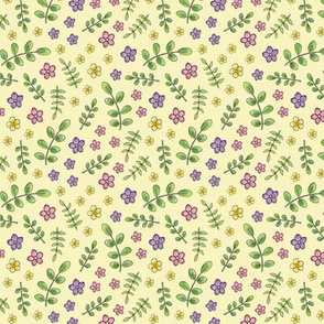 Ditsy Meadow Flowers on pale yellow