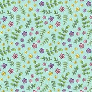 Ditsy Meadow Flowers on mint