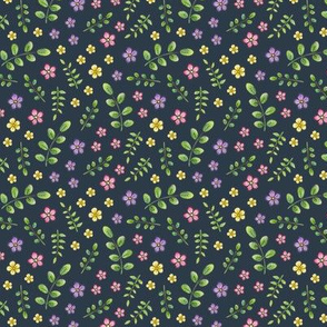 Ditsy Meadow Flowers on navy-grey