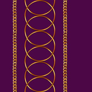Gold Rings & Chains Border Print