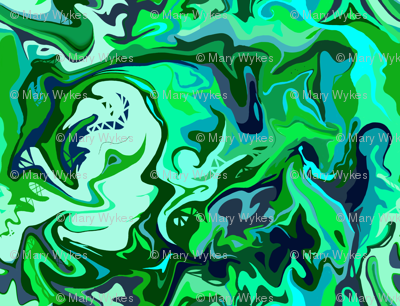 BN6 - Abstract Marbled Mystery in Blue - Green - Aqua - Tiny