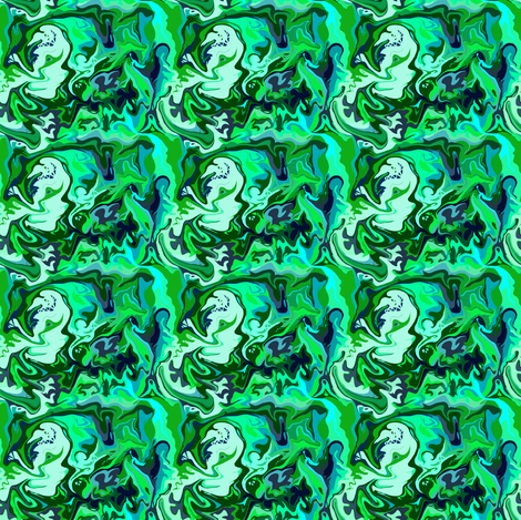 BN6 - Abstract Marbled Mystery in Blue - Green - Aqua - Tiny fabric by maryyx on Spoonflower - custom fabric