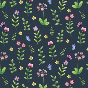 Meadow Flowers and Butterflies on navy