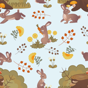 Medieval Floral Rabbits: Blue background