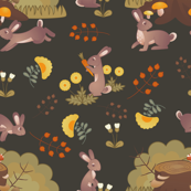 Medieval Floral Rabbits: Dark Background