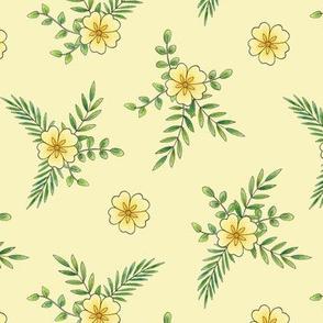 Primroses on pale yellow
