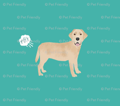 yellow lab funny dog fart dog breed fabric teal