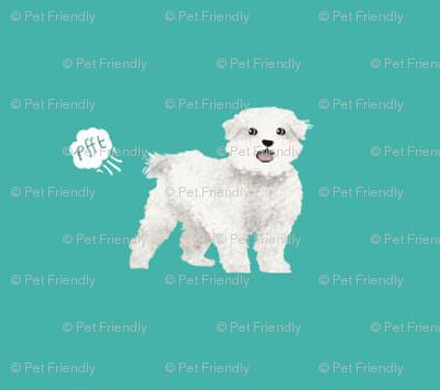 Maltese Funny Dog Fart Dog Breed Fabric Teal Fabric