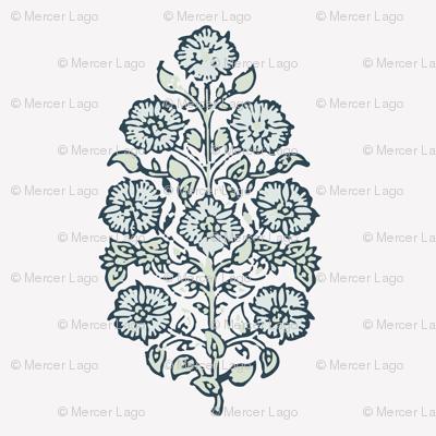 Block print mughal flower in sea salt