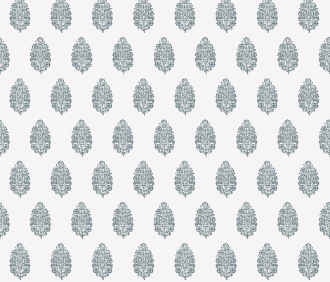 Block print mughal flower in sea salt fabric by jenlats on Spoonflower - custom fabric