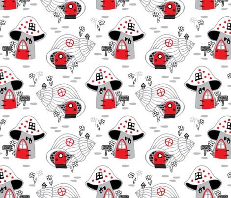 Red doors in fairy land fabric by ony_ on Spoonflower - custom fabric