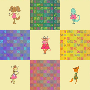 """6"""" PATCHWORK ANIMALS CHECKERBOARD ON BUTTER YELLOW cheaterquilt"""