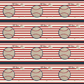 baseball all star 6 horizontal- red stripes