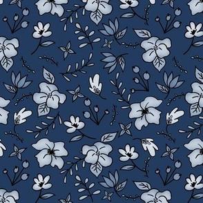 Floral Doodle cyanotype Navy