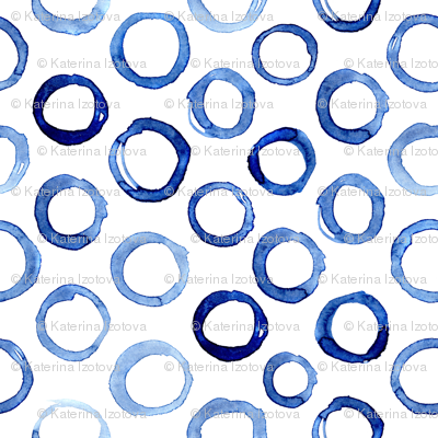Watercolor blue circles, larger scale