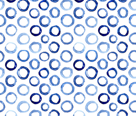 Watercolor blue circles, larger scale fabric by katerinaizotova on Spoonflower - custom fabric