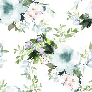 "8"" Blue and Blush Soft Watercolor Florals"