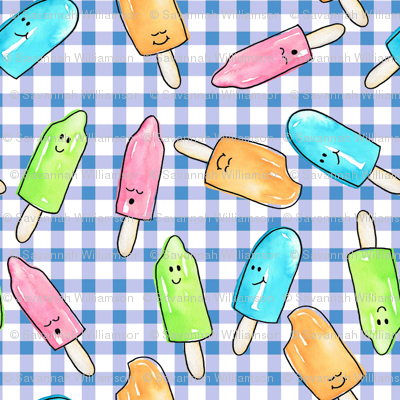 Watercolor Popsicles on blue gingham