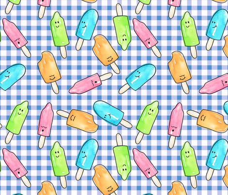 Watercolor Popsicles on blue gingham fabric by savannah's_shoppe on Spoonflower - custom fabric