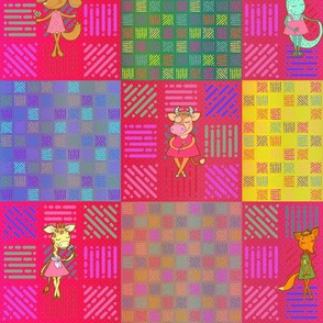 """3"""" PATCHWORK ANIMALS CHEATERQUILT ON PINK WATERMELON RED CHECKERBOARD"""