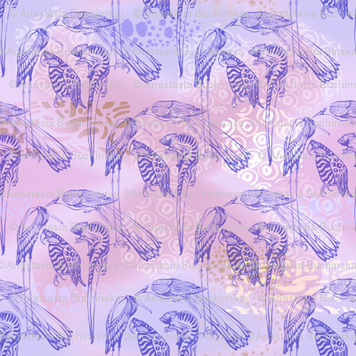 Exotic Animals on lilac background