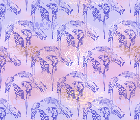 Exotic Animals on lilac background fabric by anastasia_buchinskaya on Spoonflower - custom fabric