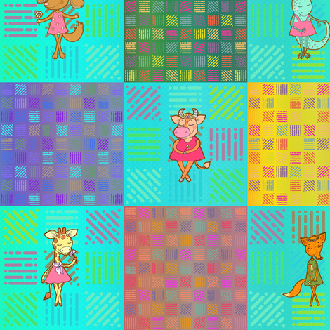 """3"""" PATCHWORK ANIMALS CHEATERQUILT  ON AQUA CHECKERBOARD fabric by floweryhat on Spoonflower - custom fabric"""