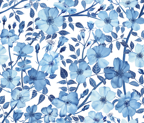Watercolor Rose Garden in Blue fabric by mygiantstrawberry on Spoonflower - custom fabric