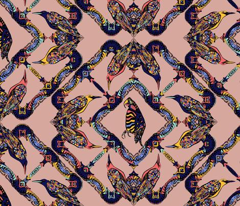 Bright parrots on light coral background fabric by anastasia_buchinskaya on Spoonflower - custom fabric