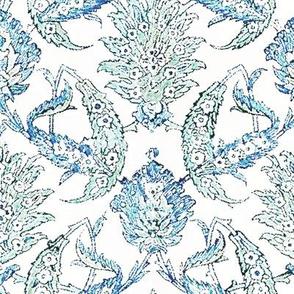 Jacobean Floral Block Print linen Blue Green Mist