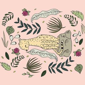 Cheetah Botanical Tea Towel